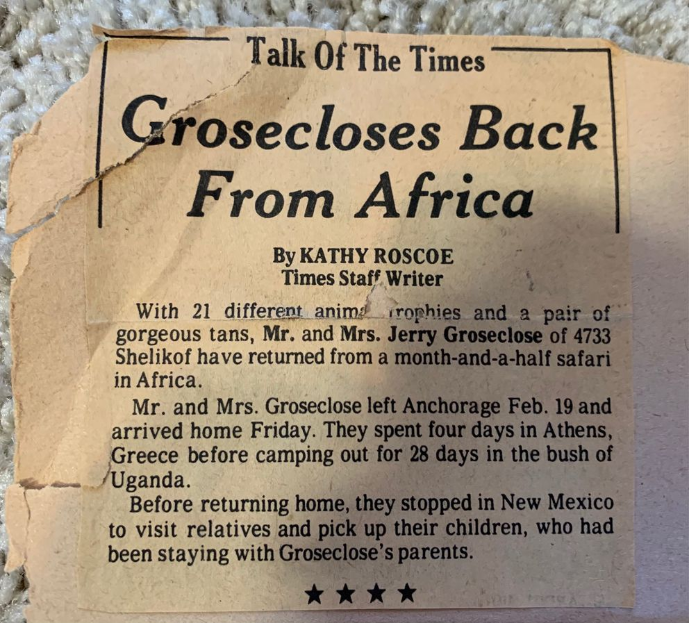 An Anchorage Times newspaper clipping about Jerry and Lonnie Groseclose returning to Anchorage from their trip to Africa. (Photo courtesy of Kelly Kneaper)