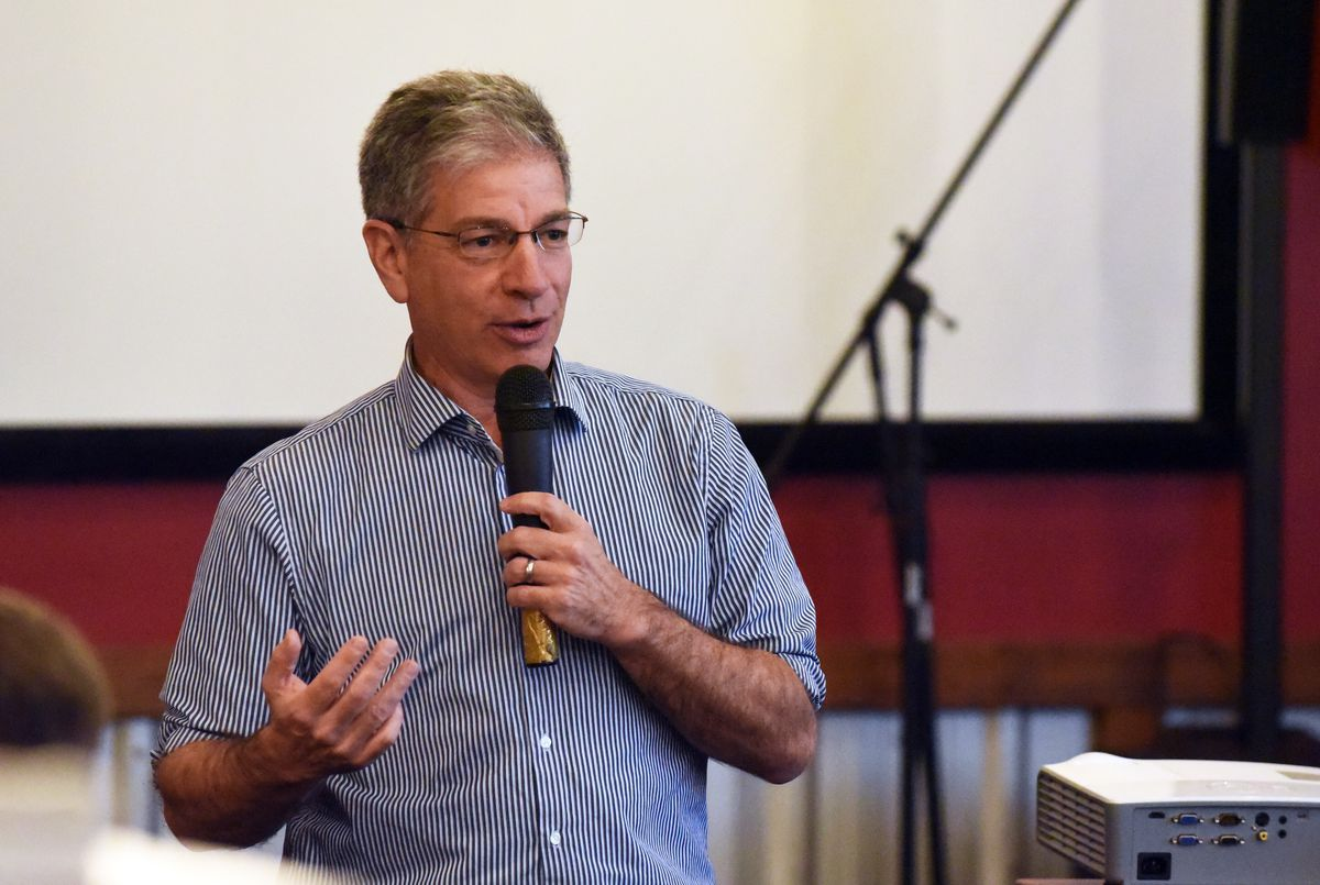 Anchorage Mayor Ethan Berkowitz speaks to the Chugiak-Eagle River Chamber of Commerce on Wednesday at Matanuska Brewing Co. in Eagle River. (Matt Tunseth / Chugiak-Eagle River Star)