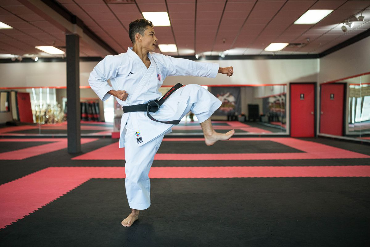 Rickyjon Balgenorth practices the Kata Chatanyara Kushanku at Okamoto's Karate on July 31. in Anchorage. (Loren Holmes / ADN)