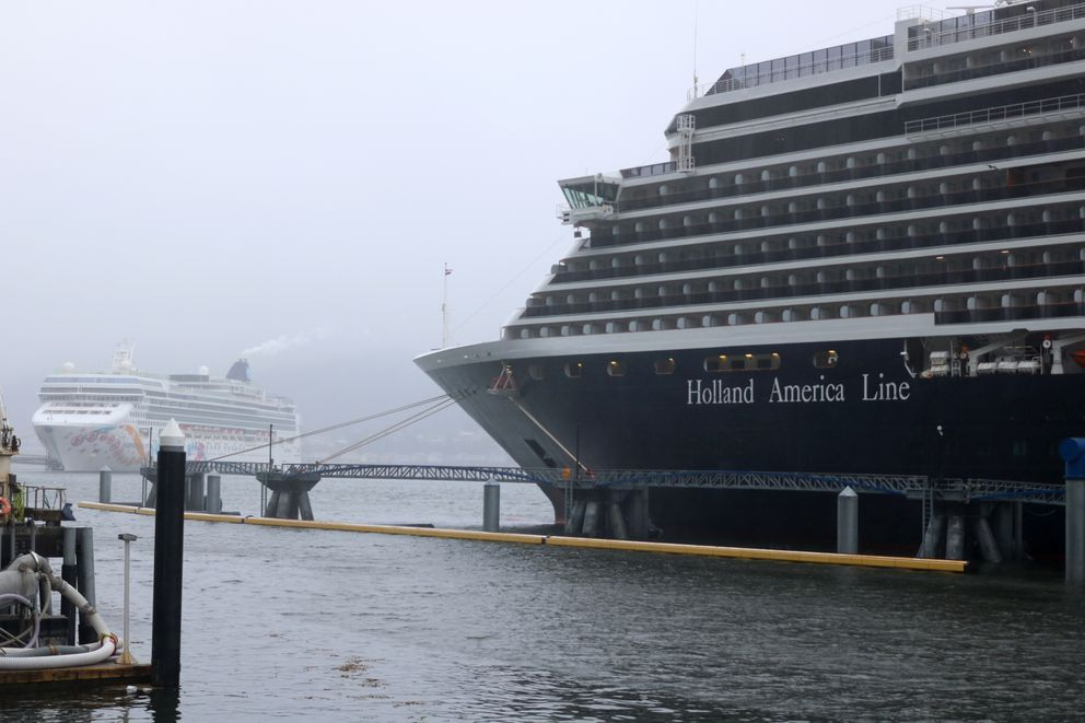 The Holland America Line's Westerdam and Norwegian Cruise Line's Norwegian Pearl sit at the docks in Juneau on Tuesday, May 1, 2018 – the second day of the cruise season there. (Nathaniel Herz / ADN)