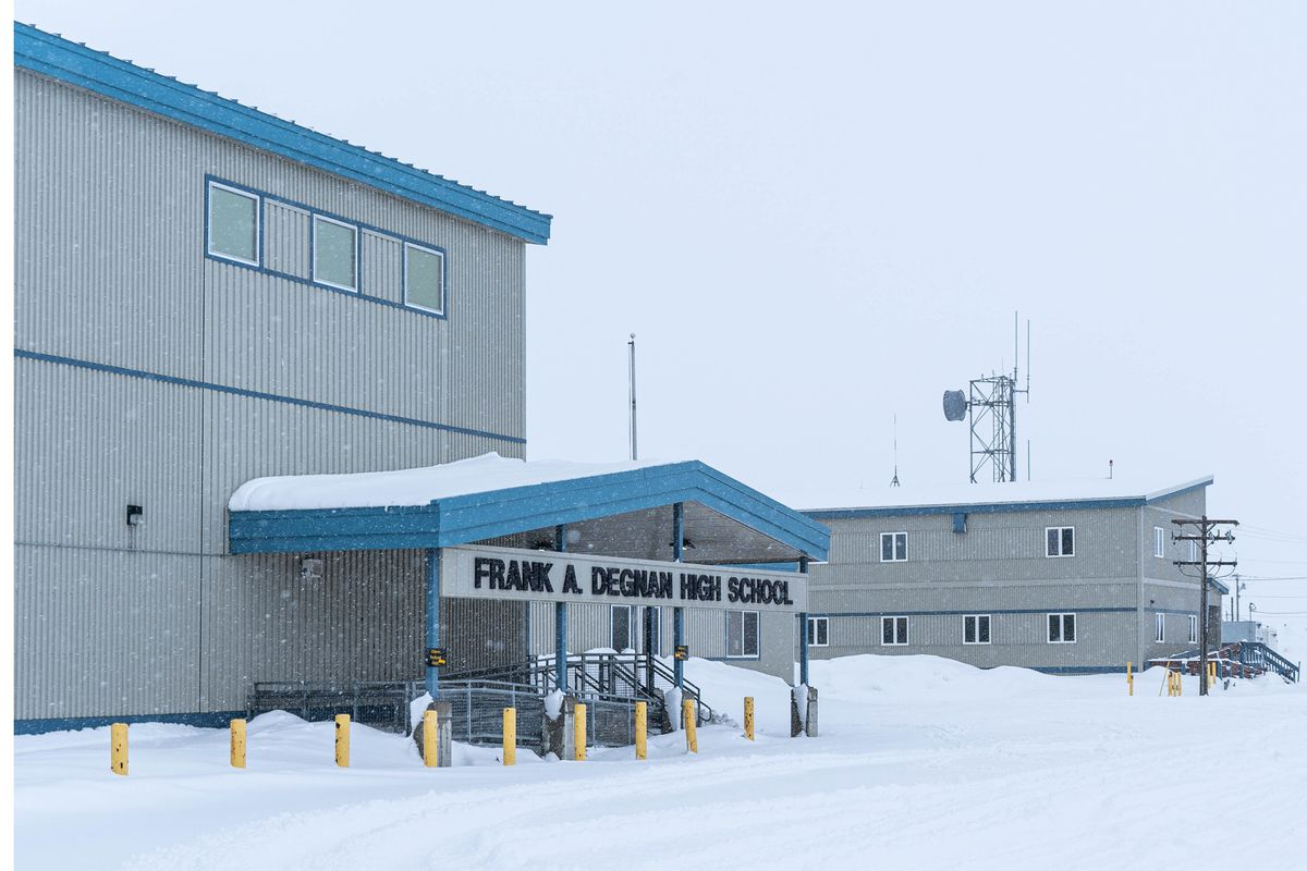 The Frank A. Degnan High School in Unalakleet on Saturday, March 14, 2020. All Alaska schools have closed until the end of the month due to COVID-19. (Loren Holmes / ADN)