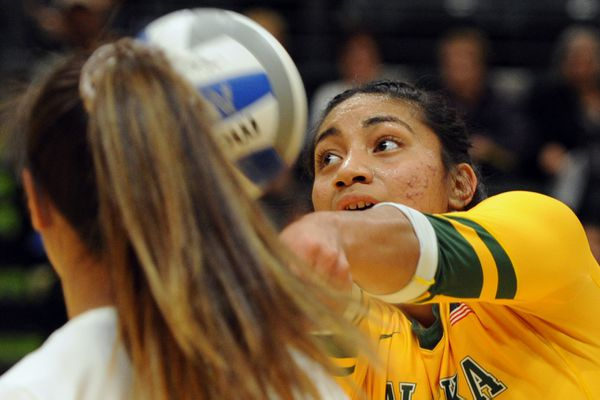 UAA senior Taylor Noga, who was recruited from East Anchorage High School, played in her second to last regular season home game at the Alaska Airlines Center on Thursday, Nov. 1, 2018. (Bill Roth / ADN)