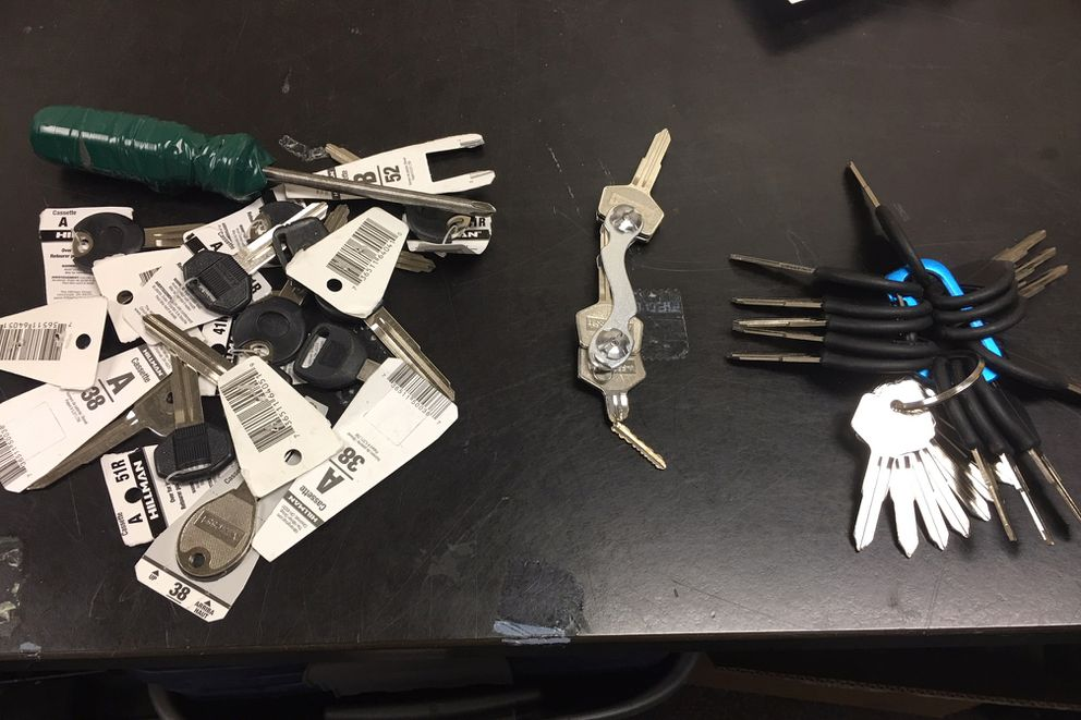 Keys seized during the arrest of 25-year-old Lydia Barce. The keys on the left and right are blank; the keys screwed together in the middle were found in the ignition of a 1991 red Subaru Legacy whereBarce was found in the driver's seat on June 30, 2018. (Photo provided by APD)