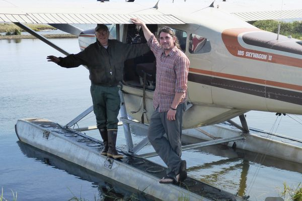 Pilot Jim Webster and scientist Ben Jones near Kotzebue in 2016. (Photo courtesy Guido Grosse)