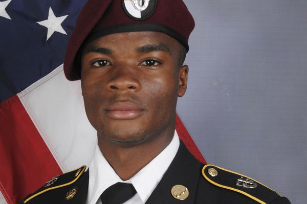 In a photo provided by the U.S. Army Special Operations Command, Sgt. La David Johnson, who was killed in an ambush in Niger in 2017. Johnson's widow, Myeshia Johnson, received a call from President Donald Trump about his death that Rep. Frederica Wilson (D-Fla.) is reported to have witnessed. Wilson offered a harsh critique of the president's words about the soldier's death, which she said were not comforting. (U.S. Army Special Operations Command via The New York Times) -- FOR EDITORIAL USE ONLY. --