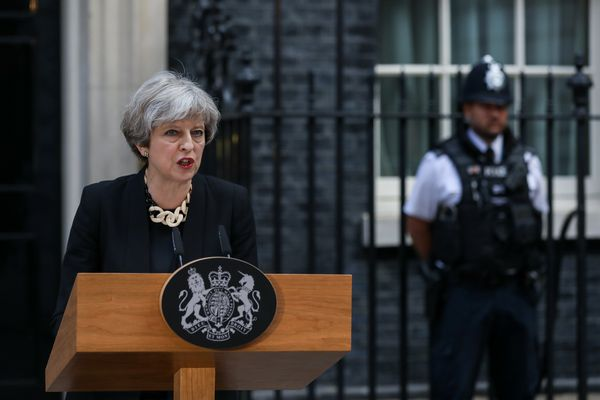 British Prime Minister Theresa May delivers a statement outside number 10 Downing Street following of the terror attack in London on June 4, 2017. (MUST CREDIT: Chris Ratcliffe/Bloomberg)