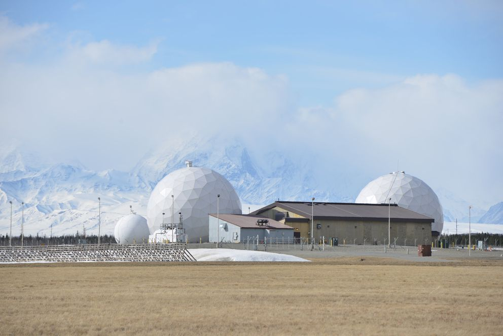 Defense Satellite Communication System with the Alaska Range in the background at the Fort Greely missile defense complex. REUTERS/Mark Meyer