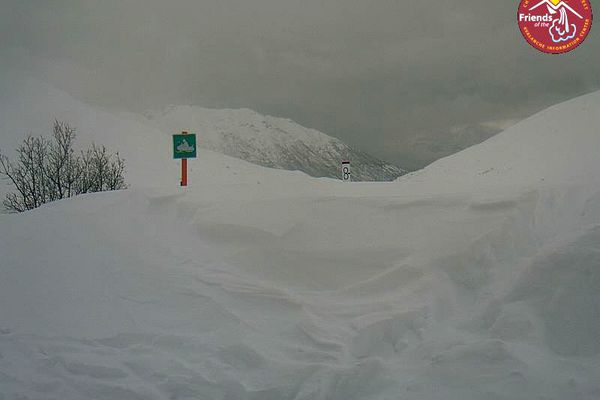 The snowdepth at the Marmot snow stake at Hatcher Pass as of 12:18 PM Monday, March 19, 2018 shows almost 8 feet of snow. (Hatcher Pass webcam)