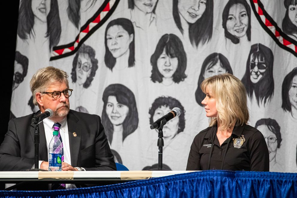 U.S. Attorney for Alaska Bryan Schroder and Alaska Commissioner of Public Safety Amanda Price participate in a panel discussion about public safety Thursday at AFN. (Loren Holmes / ADN)
