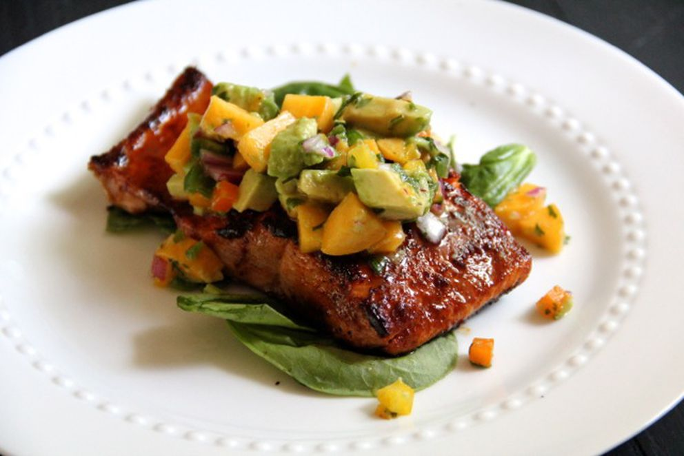 Sugar-crusted salmon with avocado-peach salsa. (Maya Wilson/Alaska From Scratch)