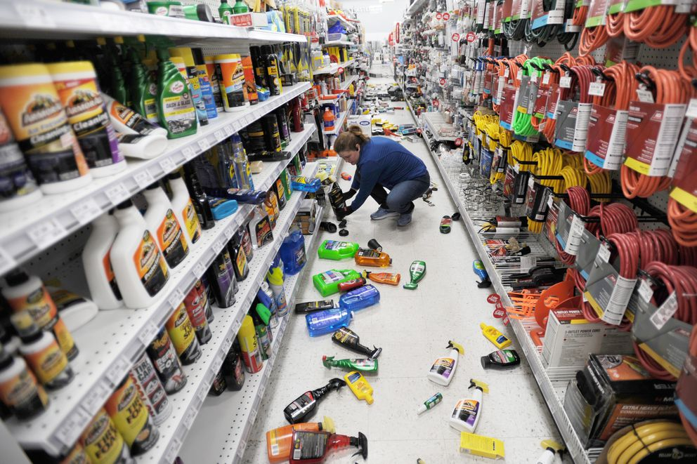Andy's Ace Hardware owner Stephanie Van Ness kept the store in Muldoon open after a 7.1 earthquake on Friday, Nov. 30, 2018. 'These people need the hardware store the most. We are here for everyone in time of crisis broken pipes, no power, and everything else. ' (Bill Roth / ADN)