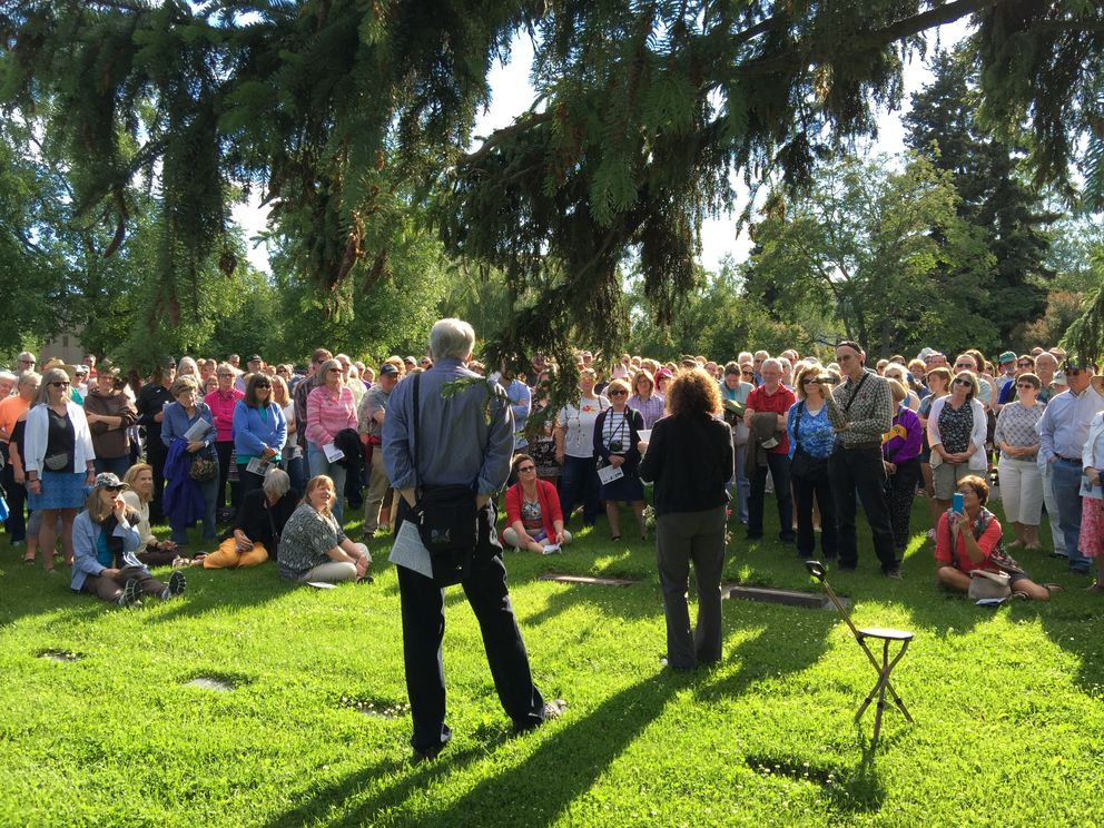 Bruce and Audrey Kelly shared life stories of 10 Alaskans buried at the Anchorage Memorial Park Cemetery during the 22nd annual Summer Solstice Tour on Tuesday evening, June 21, 2016. (Bill Roth / ADN archive)