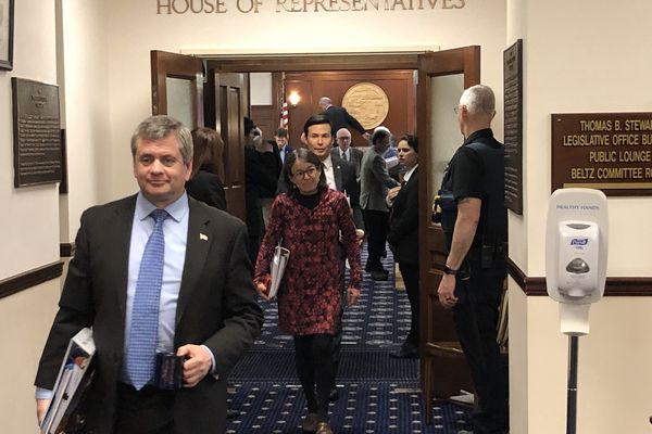 Members of the Alaska House of Representatives leave the House floor on Monday, March 16, 2020. (James Brooks / ADN)