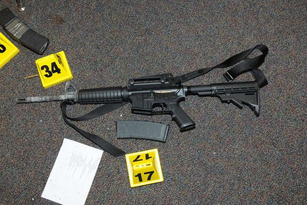 A Bushmaster Firearms LLC, AR-15 gun that was found at Sandy Hook Elementary School in Newtown, Connecticut, is pictured in this evidence photo released by the Connecticut State Police, U.S. on December 27, 2013. Courtesy Connecticut State Police/Handout via REUTERS