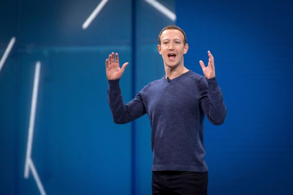 Facebook CEO Mark Zuckerberg speaks Tuesday at F8, Facebook's developer conference. (Bloomberg photo by David Paul Morris)