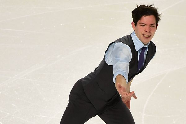 Keegan Messing skates in the men's short program on Jan 12, 2018 at Doug Mitchell Thunderbird Sports Centre in Vancouver, British Columbia. (Anne-Marie Sorvin-USA TODAY Sports)