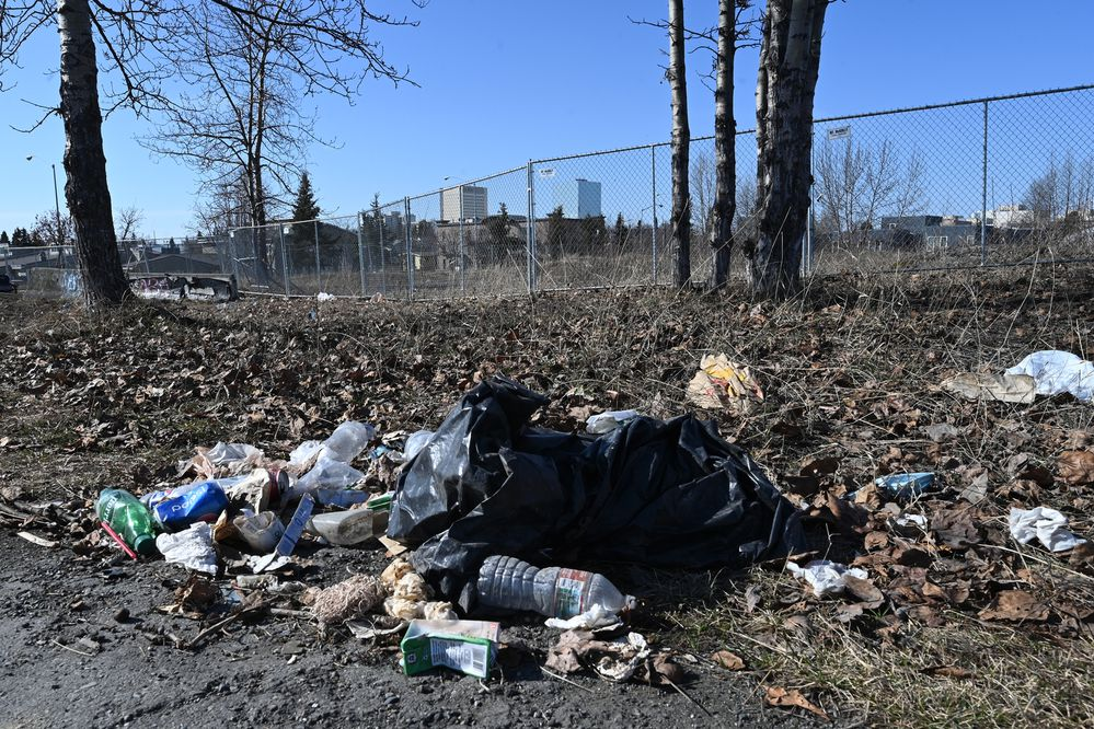 The Anchorage Chamber of Commerce's citywide cleanup event starts on Saturday and continues through the month of May. Wednesday, April 28, 2021. (Bill Roth / ADN)