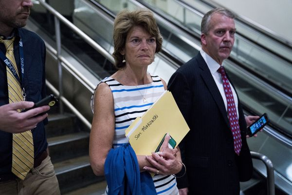 Sen. Lisa Murkowski (R-Alaska) after she and other senators returned from a meeting with President Donald Trump regarding health care legislation, on Capitol Hill in Washington, July 19, 2017. Trump vigorously defended the all-but-dead Senate health care bill on Wednesday, pressuring lawmakers with both humor and thinly veiled threats. (Doug Mills/The New York Times)