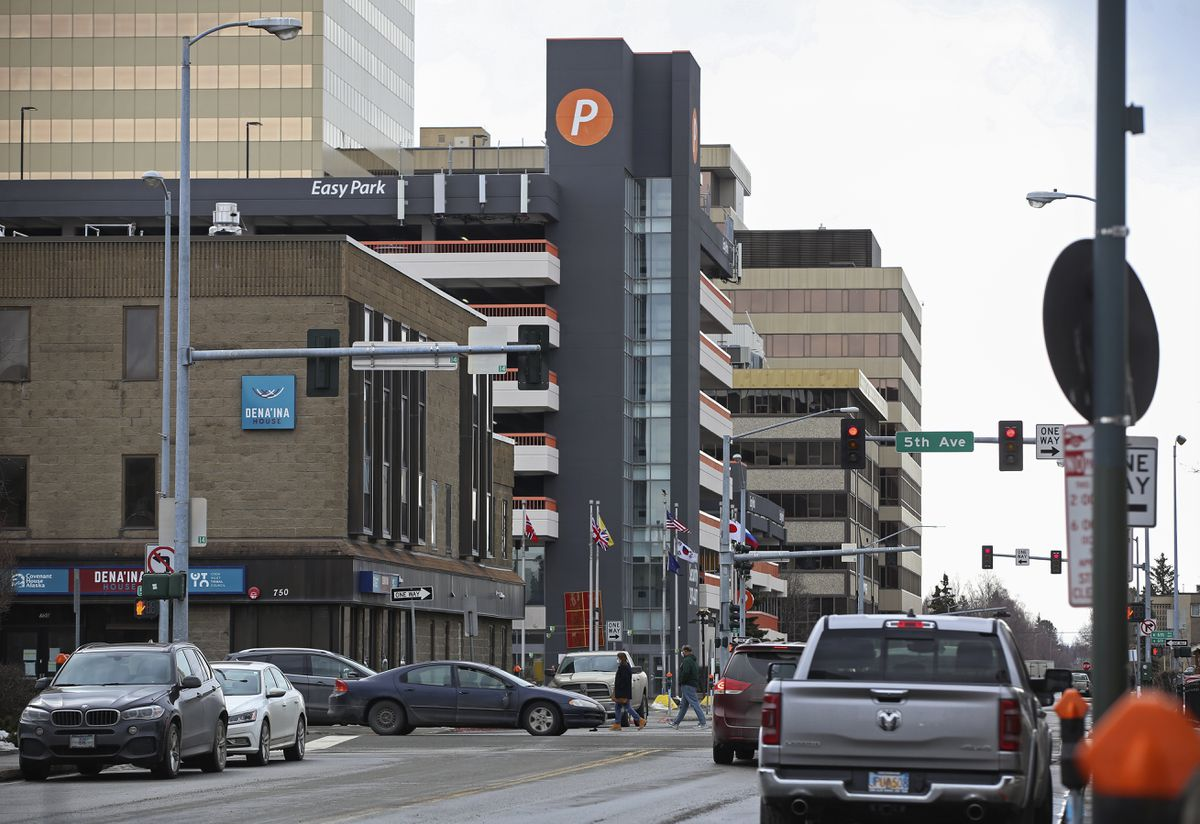 Easy Park parking garage in downtown Anchorage, photographed on Wednesday, April 14, 2021. (Emily Mesner / ADN)