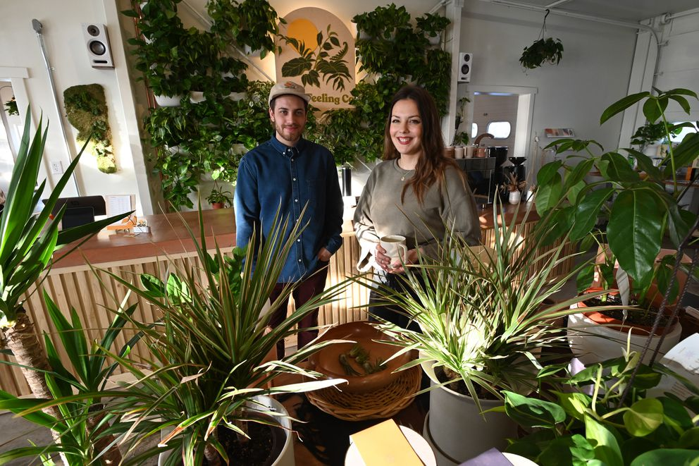 Carson Baldiviez and Tanya Val recently opened That Feeling Co. which sells houseplants and coffee and is located in the same building with Johnny's Produce at 1721 E. Dowling Road. Thursday, Feb. 6, 2020. (Bill Roth / ADN)