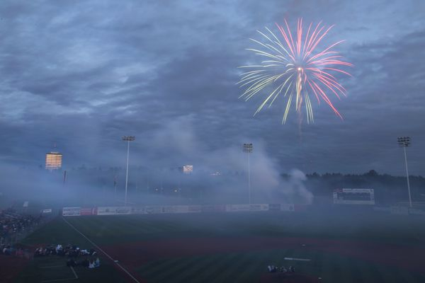 Fireworks light the sky after the annual Alaska Baseball League doubleheader on July 4, 2017, at Mulcahy Stadium. (Rugile Kaladyte / Alaska Dispatch News)
