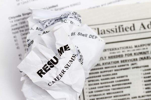Resumes crumpled up and tossed in frustration (Thinkstock)