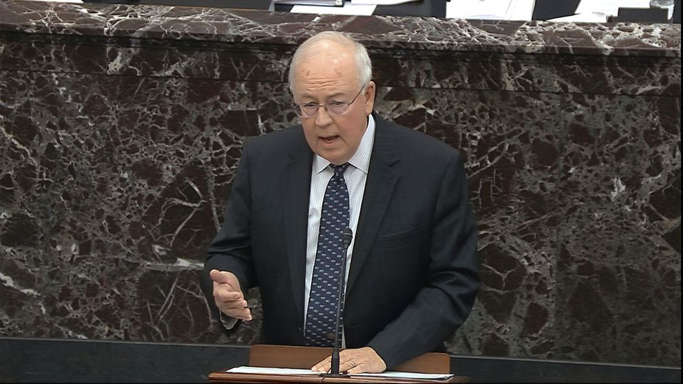 In this image from video, Ken Starr, an attorney for President Donald Trump speaks during closing arguments in the impeachment trial against Trump in the Senate at the U.S. Capitol in Washington, Monday, Feb. 3, 2020. (Senate Television via AP)
