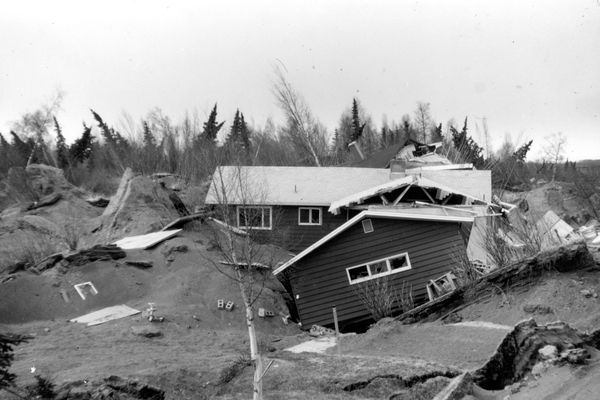 A home in Turnagain Heights in Anchorage, Alaska, lies in ruins following a devastating earthquake in 1964. (U.S. Geological Survey/MCT)