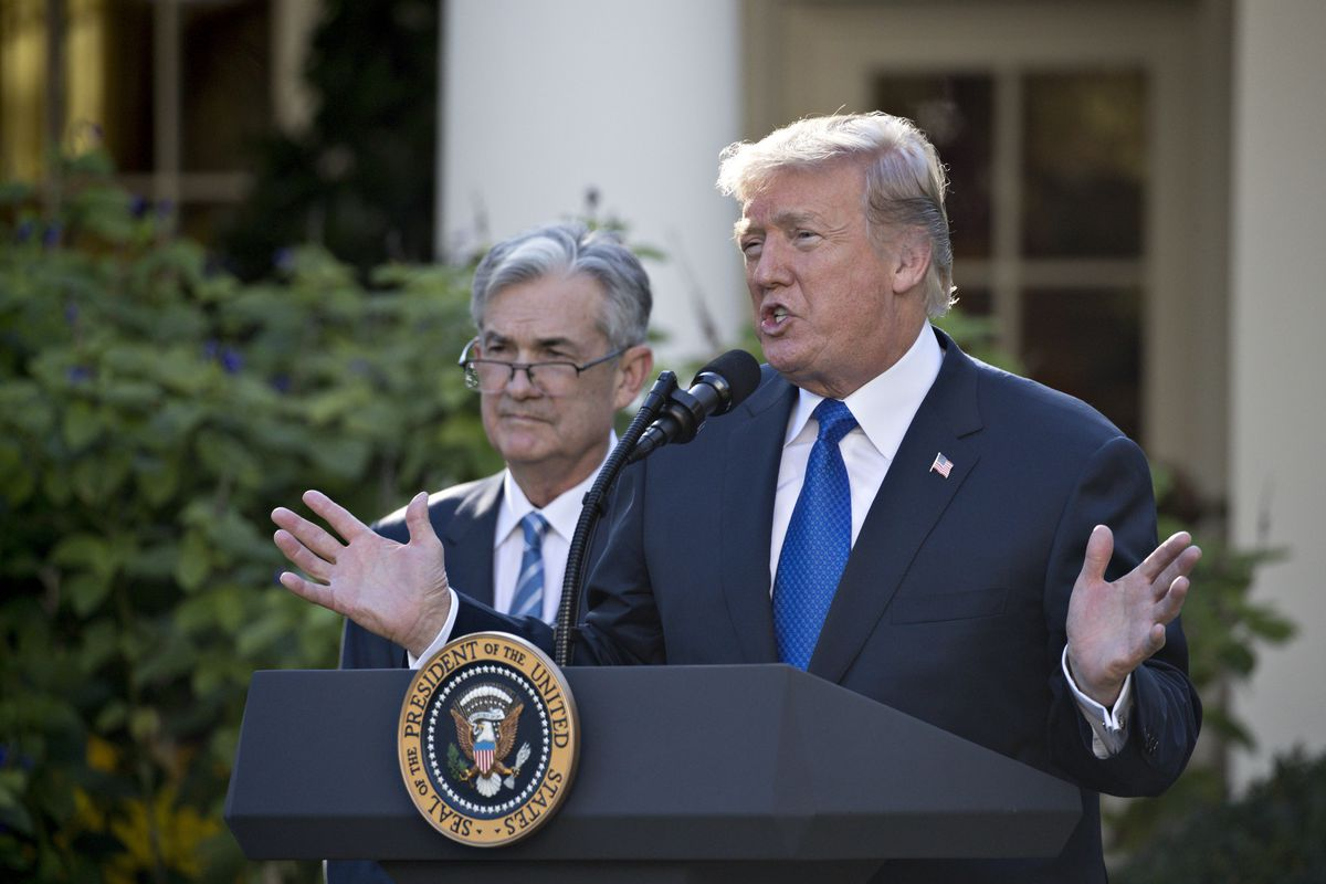 President Donald Trump and Fed Chairman Jerome Powell in the Rose Garden of the White House in Washington on Nov. 2, 2017. Bloomberg photo by Andrew Harrer.