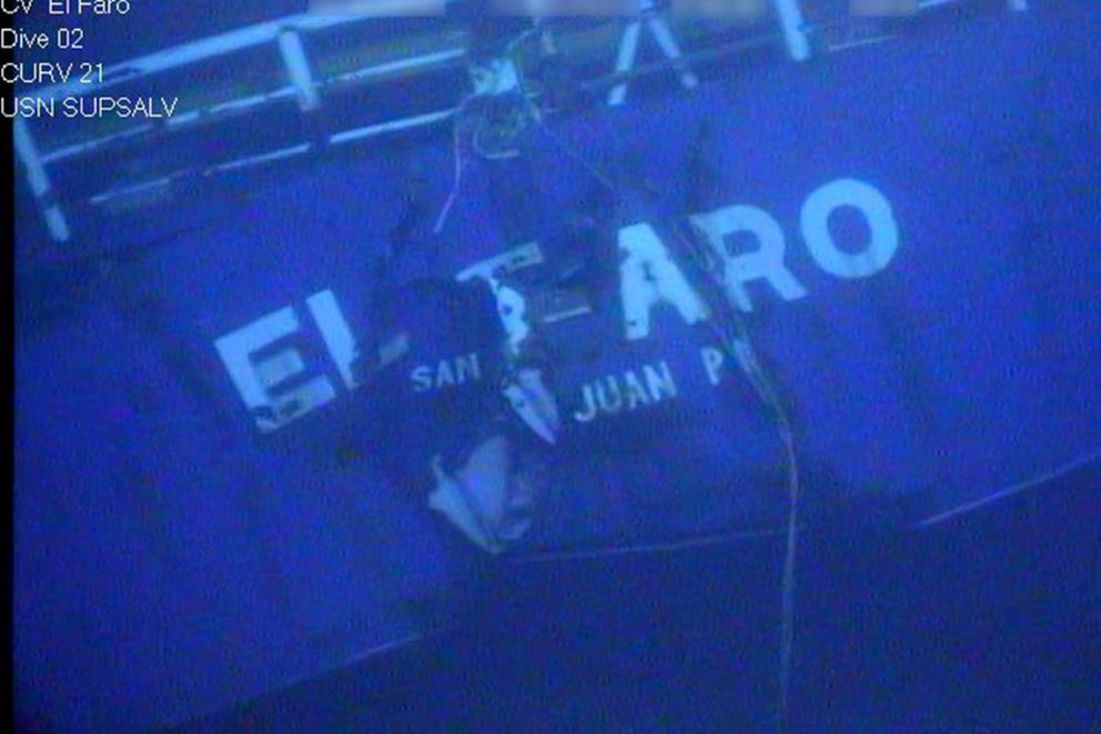 The stern of the El Faro is shown on the floor of the Caribbean Ocean floor taken from an underwater video camera on November 1, 2015. Courtesy National Transportation Safety Board/Handout via REUTERS