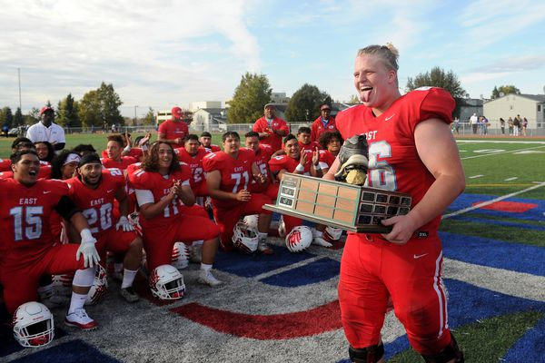East defeated Bartlett 33-15 in football action to win the East Side Boot trophy at East High in Anchorage, AK on Saturday, Sept 15, 2018. (Bob Hallinen / ADN)