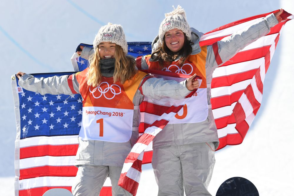 Gold medalist Chloe Kim (USA), left, and bronze medalist Arielle Gold (USA) celebrate after competing in the halfpipe event during the Pyeongchang 2018 Olympic Winter Games on Feb. 13, 2018, at Phoenix Snow Park. (Jack Gruber / USA TODAY Sports)
