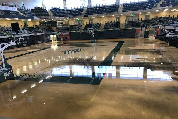 The Alaska Airlines Center floor flooded after the 7.0 earthquake hit Friday morning, Nov. 30, 2018. (Photo provided by UAA Athletics)
