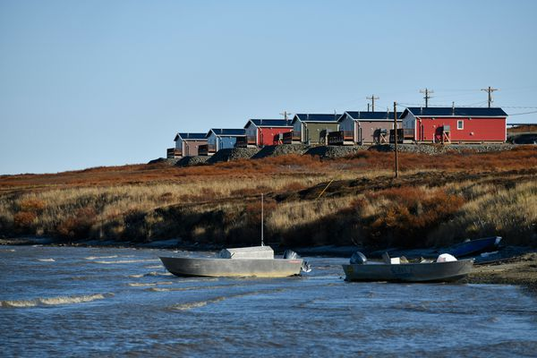 New homes overlook the Ninglick River in Mertarvik on October 12, 2019. Thirteen homes were built this year in Mertarvik, bringing the total built there to 21. (Marc Lester / ADN)