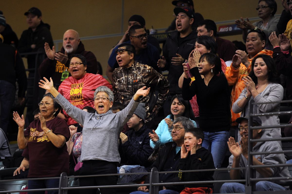 Shaktoolik fans cheer their team at the 2017 state basketball tournament in Anchorage. (Erik Hill / ADN archives)