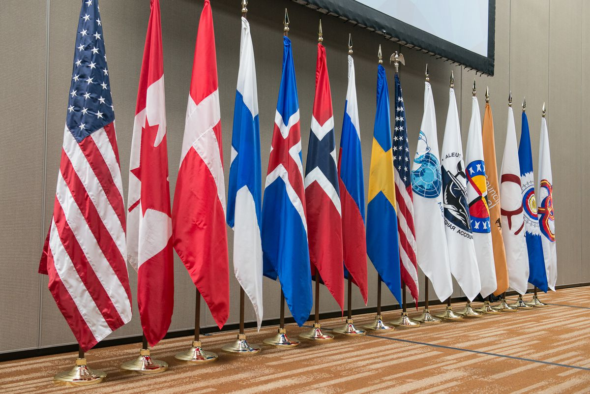 The flags of the eight Arctic Council member states and indigenous permanent participant organizations at the first meeting during the United States' 2015-2017 chairmanship, held in Anchorage. (Linnea Nordström / Arctic Council Secretariat)