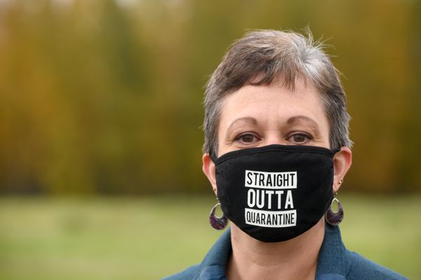 Kathryn Elam is photographed in Fairbanks, Alaska Friday evening, September 11, 2020. Elam has recovered from COVID-19, and has talked about the stigma surrounding contracting the coronavirus. (Photo by Eric Engman)