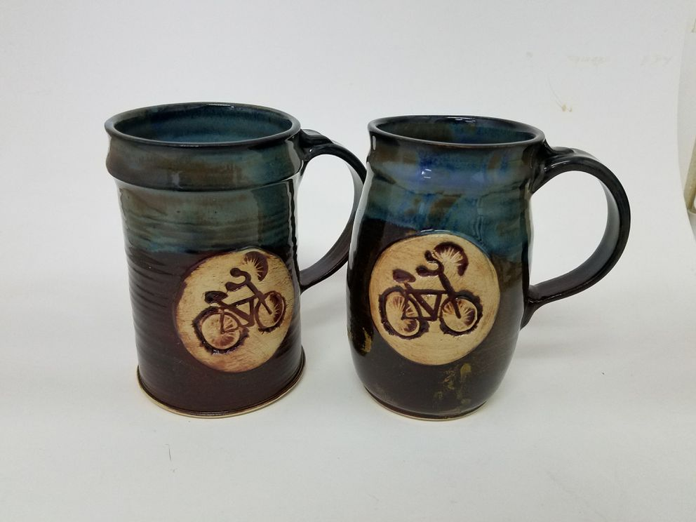 Mugs made by Jenny Ditto also known as the Midnight Potter. Glazed functional pottery. (Jenny Ditto/Clay Art Space)