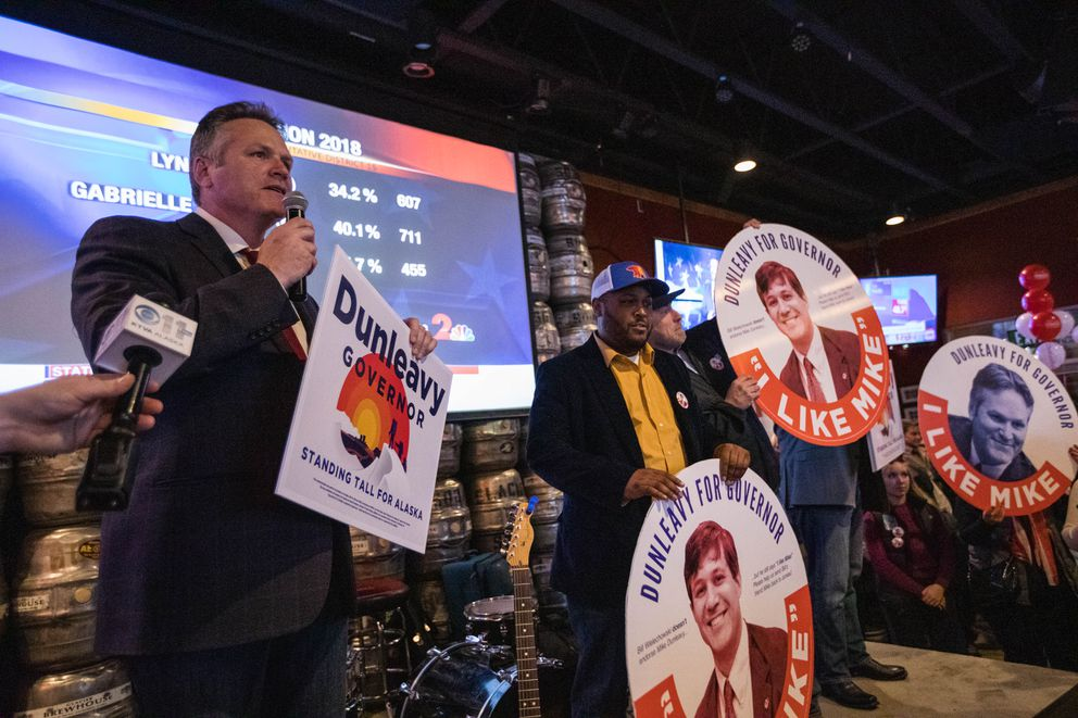 Mike Dunleavy thanks an independent expenditure group that supported his gubernatorial candidacy, at a Republican Party celebration Tuesday, Nov. 6, 2018 at the Anchorage Alehouse. (Loren Holmes / ADN)