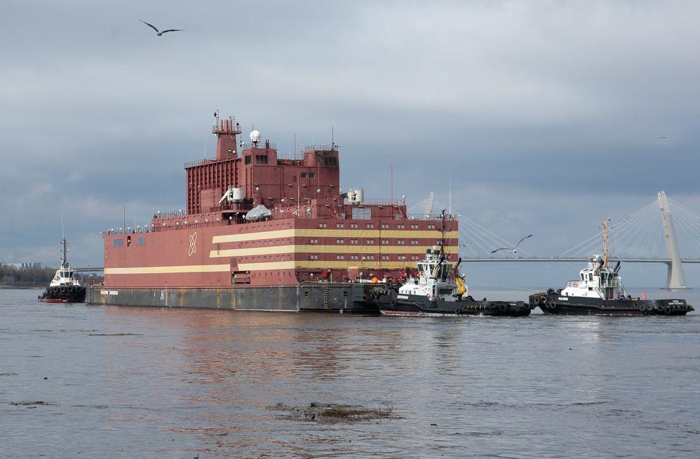 "The floating nuclear power plant ""Akademik Lomonosov"" under tow in Murmansk last week. REUTERS/Anton Vaganov"
