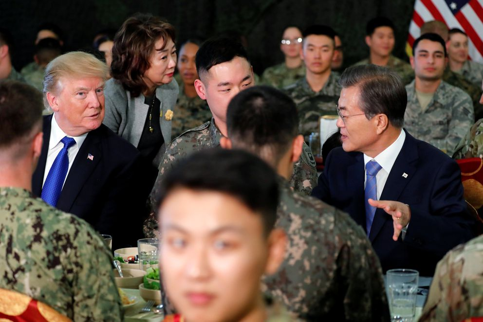 President Donald Trump and South Korea's President Moon Jae-in have lunch with troops at U.S. military installation Camp Humphreys in Pyeongtaek. REUTERS/Jonathan Ernst