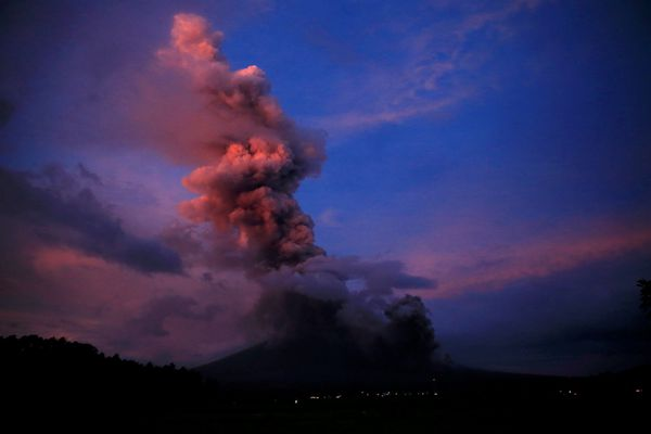 A view of the Mayon Volcano after a new eruption in Camalig, Albay province, south of Manila, Philippines, on Wednesday. (Romeo Ranoco/ Reuters)