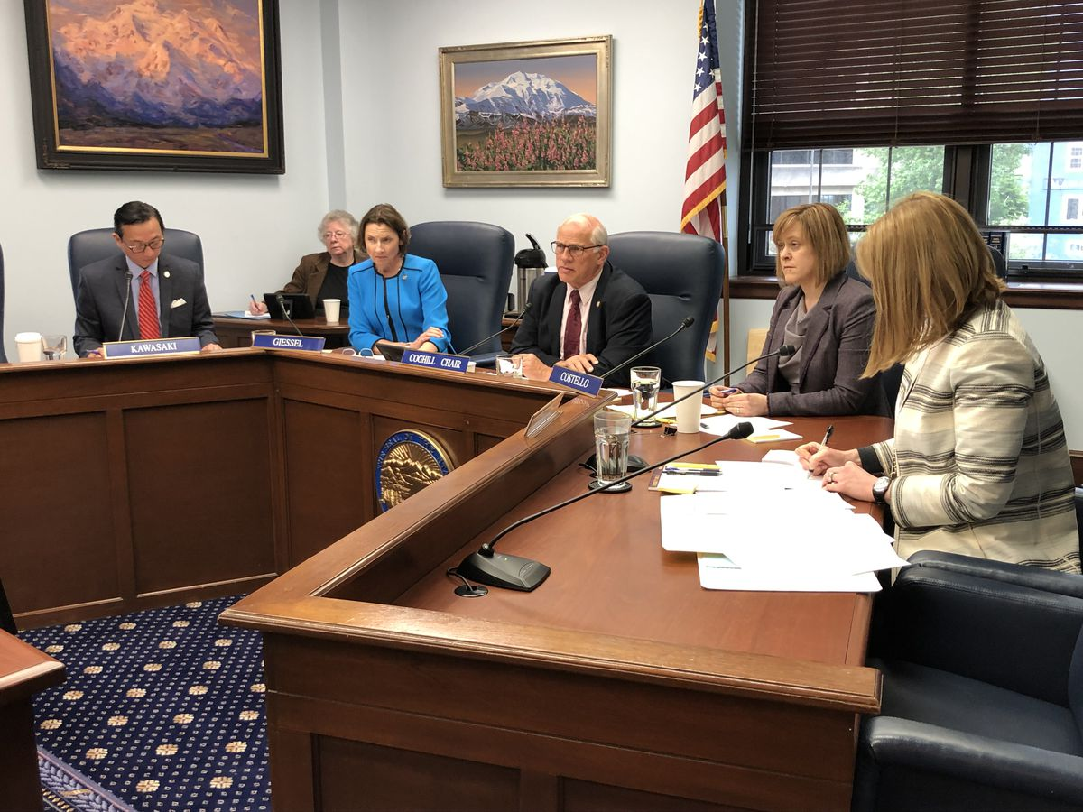 The members of the Senate Rules Committee are seen during a meeting on Monday, June 3, 2019. From left to right are Sen. Scott Kawasaki, D-Fairbanks; Senate President Cathy Giessel, R-Anchorage; Sen. John Coghill, R-North Pole; Senate Majority Leader Mia Costello, R-Anchorage; and Sen. Natasha von Imhof, R-Anchorage. Kawasaki is an alternate sitting in for Senate Minority Leader Tom Begich, D-Anchorage, who was absent. (James Brooks / ADN)