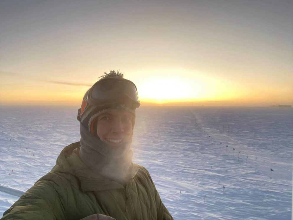 Craig Updegrove takes a selfie on the 2020 September equinox, the only day when the sun rises at the South Pole. (Photo by Craig Updegrove)