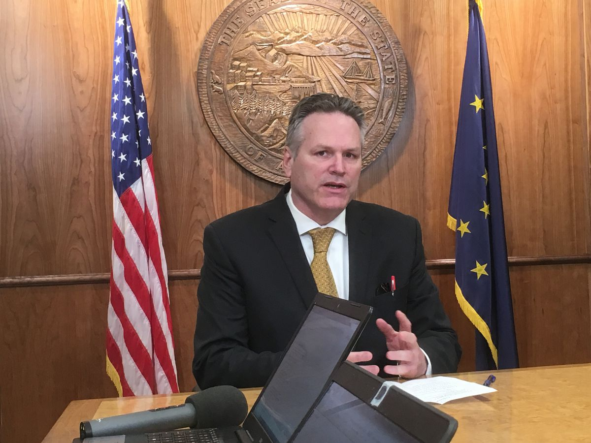 Gov. Mike Dunleavy speaks Tuesday, April 9, 2019 during a press conference in the Alaska State Capitol. (James Brooks / ADN)
