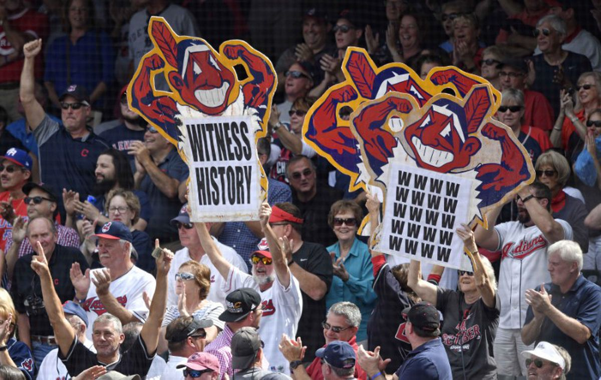 Sep 13, 2017; Cleveland, OH, USA; Fans hold signs in the first inning of a game between the Cleveland Indians and the Detroit Tigers at Progressive Field.  David Richard-USA TODAY Sports