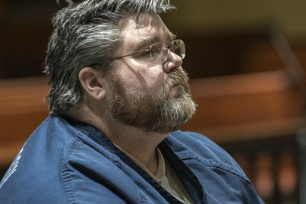 Steven Downs appears at Androscoggin County Superior Court in Auburn, Maine on Wednesday, March 20, 2019 during his extradition hearing. Downs has been charged by Alaska authorities with the 1993 sexual assault and murder of 20-year-old Sophie Sergie at the University of Alaska Fairbanks. (Russ Dillingham/Sun Journal via AP)