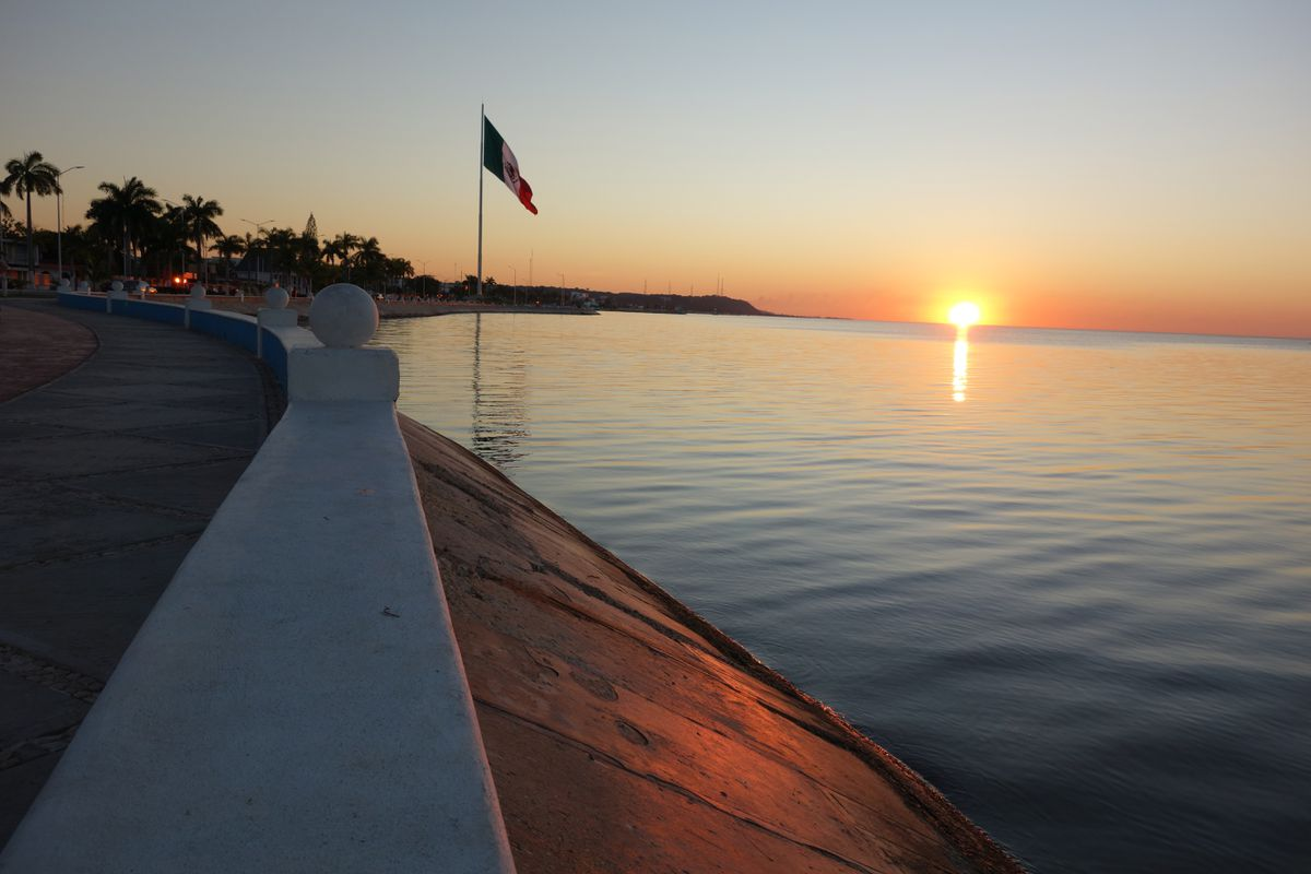 Sunset on the Gulf of Mexico, seen from the seawall in Campeche. (Scott McMurren)