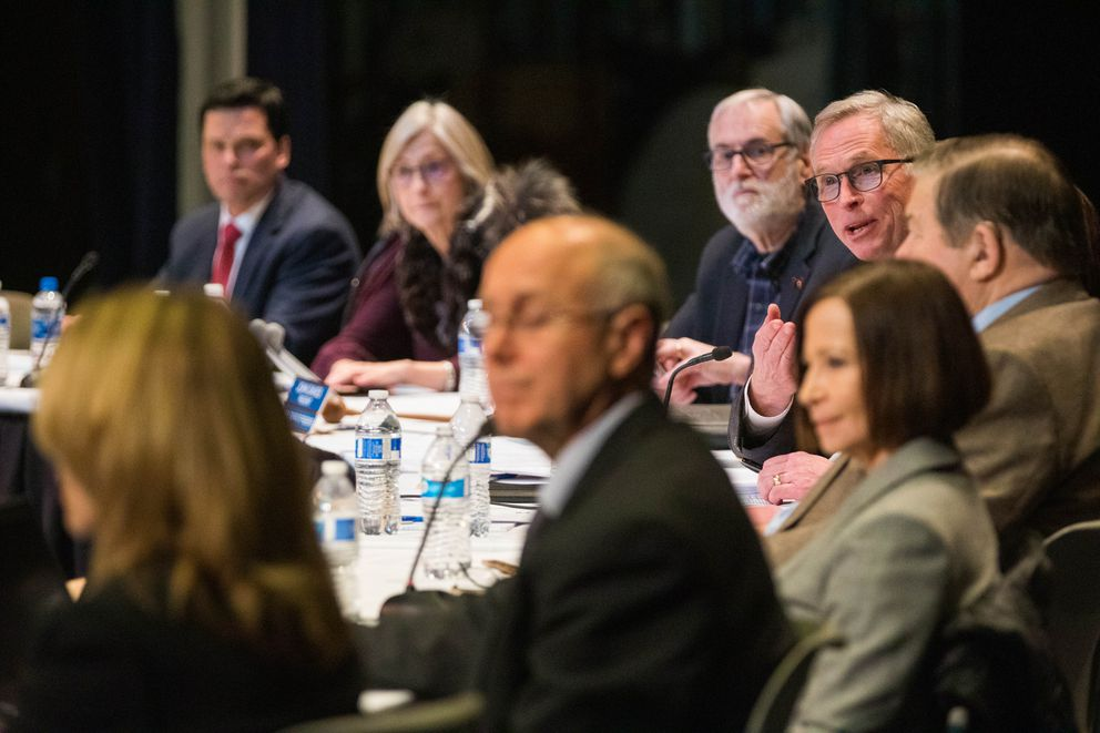 University of Alaska Anchorage president Jim Johnsen answers a question from an education student during a listening session with the UAA Board of Regents Tuesday, Feb. 12, 2019 at the Wendy Williamson Auditorium. (Loren Holmes / ADN)