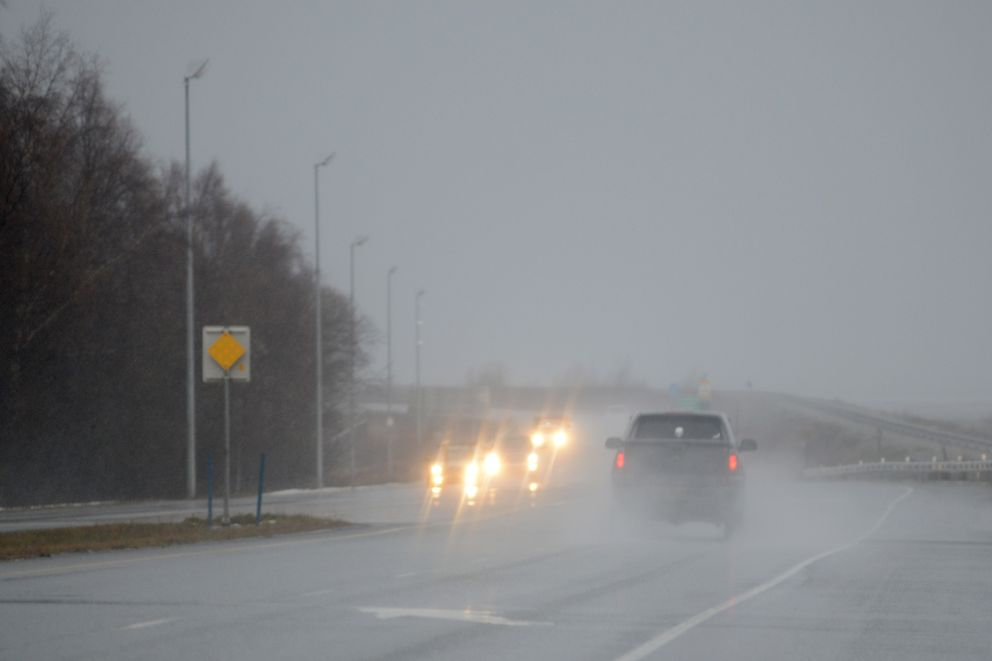 Conditions along the Seward Highway included driving rain and stiff wind Dec. 9, 2019. (Anne Raup / ADN)